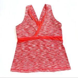 Lululemon orange red v-neck mesh panel tank top